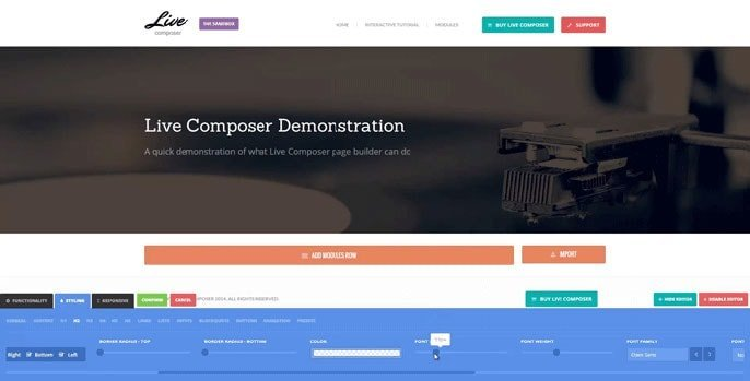 Live Composer WordPress-plugin-skermkiekie