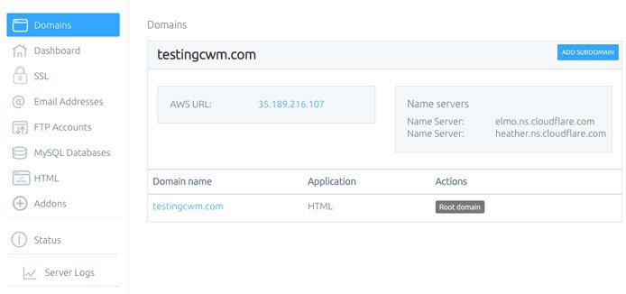 Screenshot ng Cloud With Me domain manager
