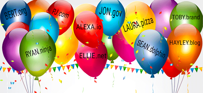 Celebratory Domain at Baby Name Balloon Graphic
