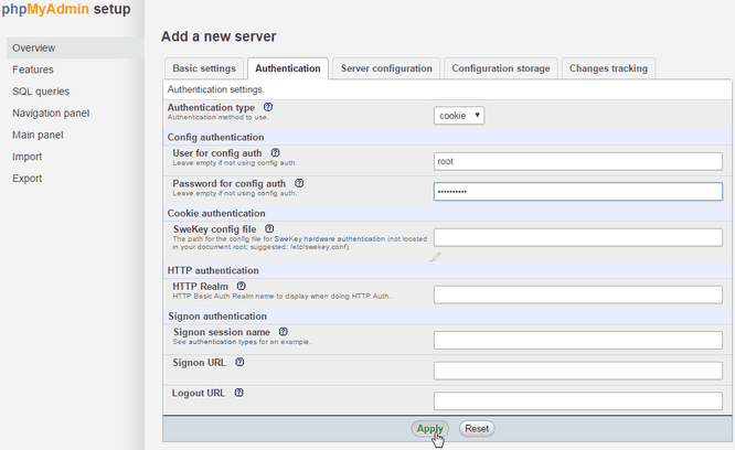 phpMyAdmin Mag-install mula sa Source Authentication Tab Ipasok ang root Password