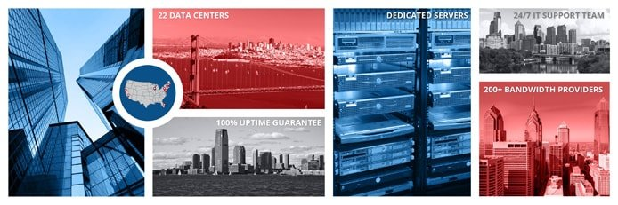 Fotocollage van Colocation America se datacentersentrums en toegewyde bedieners