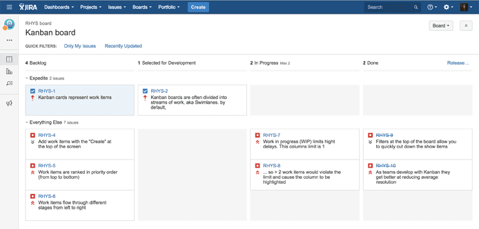 Screenshot ng interface ng Kanban user ni JIRA