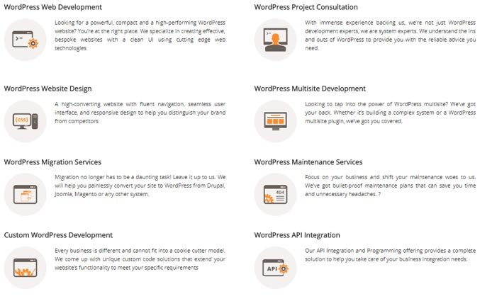 Screenshot ng WisdmLabs 'WordPress solution